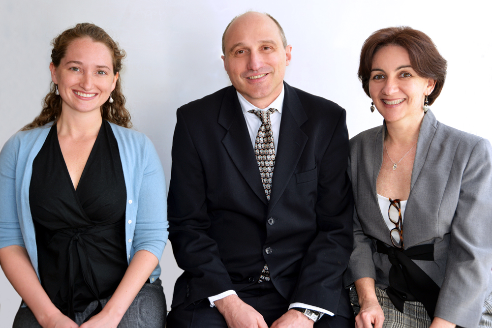 Dr Erinna Bowman, Dr Luis Nacul and Dr Eliana Lacerda from the biobank team