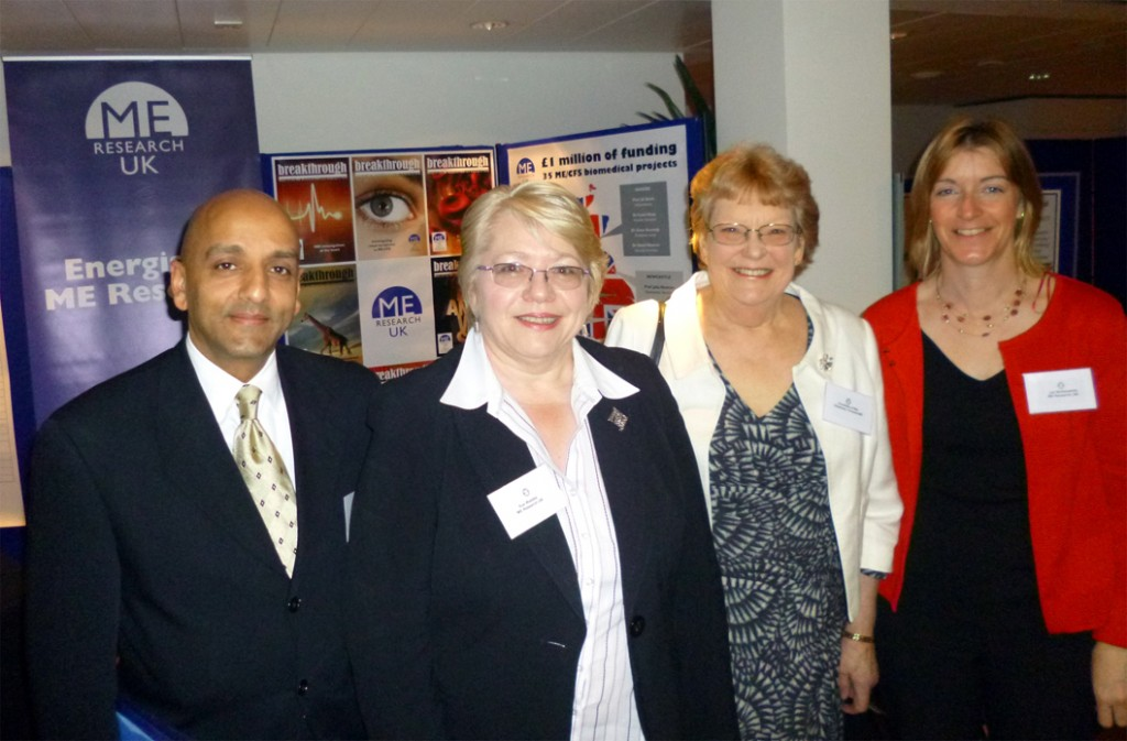 Dr Faisel Khan, with ME Research UK Vice-Chair Sue Waddle, Patron The Countess of Mar, and Trustee Jan McKendrick at the launch of the CMRC