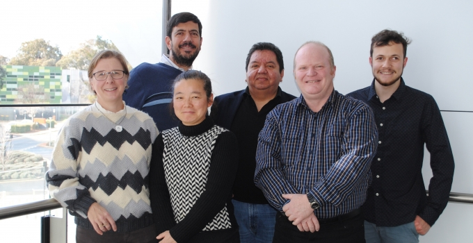 The team at the Australian National University: (L to R) Dr Alice Richardson, Dr Claudio Mastronardi, Dr Guifang Shang, Prof Mauricio Arcos-Burgos, Prof Brett Lidbury and Ben Signor