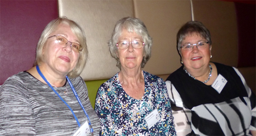 Eva Stormorken (far right) with ME Research UK Vice-chair Sue Waddle and Dr Anne MacIntyre (middle)