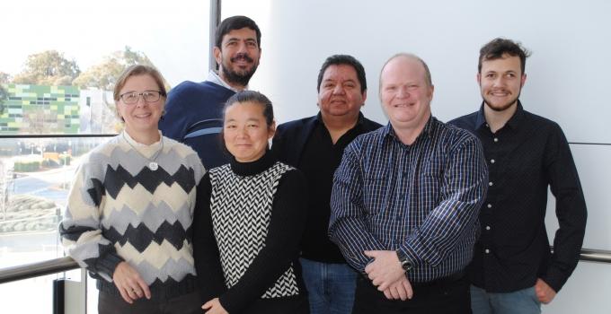 The team at the Australian National University: (L to R) Dr Alice Richardson, Dr Claudio Mastronardi, Dr Guifang Shang, Prof Mauricio Arcos-Burgos, Prof Brett Lidbury and Ben Signor